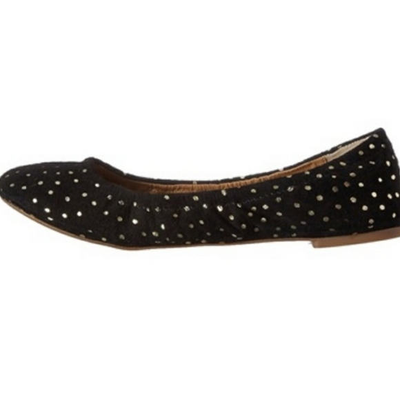 Lucky Emmie Black Suede Gold Dot Ballet flat
